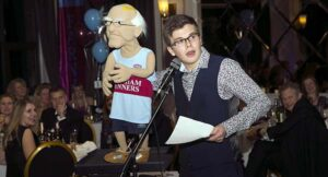 Eugene puppet and entertainer at Max Fuller at 2016 Annual Awards Dinner
