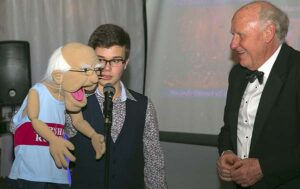 Peter Strange meets his stunt double Eugene puppet with Max Fuller at 2016 Annual Awards Dinner