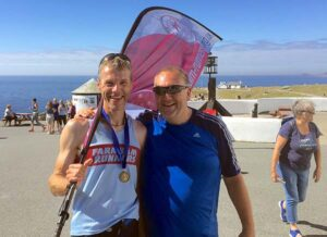 Ian Carly and Richard Shepherd at Lands End after the run from John OGroats in the 2016 FROGLE club relay