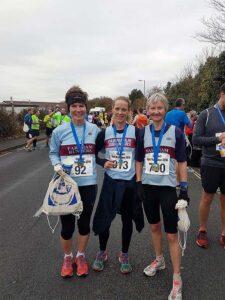 Ladies with medals after 2016 Gospart Half Marathon