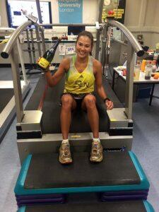 Suzie Chan celebrates breaking the world 12hr treadmill record in 2016