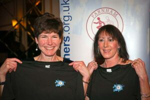 Lindsay Bamford and Kay Copeland presented with T-shirts at 2017 Annual Awards Dinner