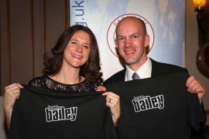 Clair Bailey and Steve Bailey presented with T-shirts at 2017 Annual Awards Dinner