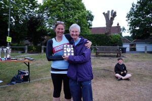 Jane Georghiou being presented with trophy at 2017 Club Championship