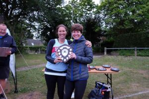 Lindsay Bamford being presented with trophy at 2017 Club Championship
