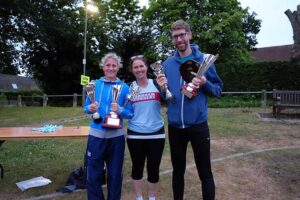 Richard Lovjoy and Sarah Hill with trophies at 2017 Club Championship