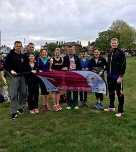 Group at Blackheath before start of 2017 London Marathon