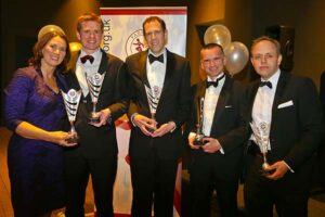 Jacquie Browne, James Clarke, Neil Ambrose, Harvey Wickham and Craig Tate-Grimes receive trophies at 2018 Annual Awards Dinner