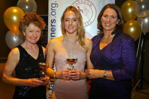 Ladies Grand Prix Winners Linda Tyler and Kayleigh Copeland with trophies at the 2018 Annual Awards Dinner