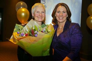 Jane Georghiou presented with a bouquet at 2018 Annual Awards Dinner