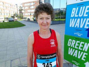 Linda Tyler in Wales kit at 2018 BMAF International Cross Country