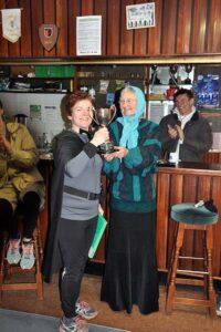 Susan MacKenzie being presented with winners trophy at 2018 Club Handicap