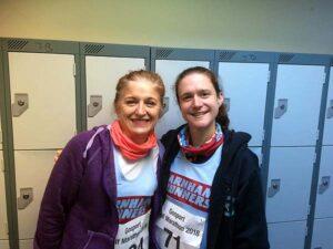 Sarah McCulloch and Clair Bailey before 2018 HRRL Gosport Half Marathon