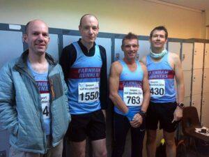 Stephen Bailey, David Roy, Ali Hardaway and John Phillips before 2018 HRRL Gosport Half Marathon