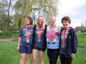 Ladies with medals after 2018 London Marathon