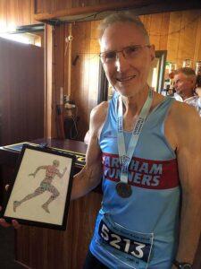 Douglas Blyth with M75 prize at 2019 HRRL Overton 5