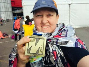 Nicola OConnor wiht medal after the 2019 Manchester Marathon