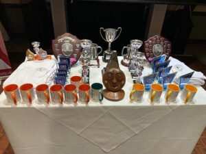 The array of trophies and prizes at the 20202 Annual Awards Dinner