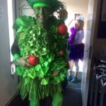 Craig Tate-Grimes dressed as a salad, first fancy dress prize winner, at the 2020 Club Handicap