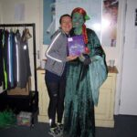 Helen Bracey presents Georgi Welch with her 2nd in fancy dress prize at the 2020 Club Handicap
