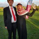 David Boakes as Donald Trump and Richard Frost as an Arab sheikh at the 2020 Club Handicap