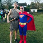 Caveman John Phillips and Superman Harvey Wickham at the 2020 Club Handicap