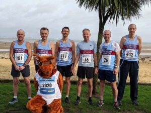Mens team with event mascot at 2020 HRRL Ryde 10