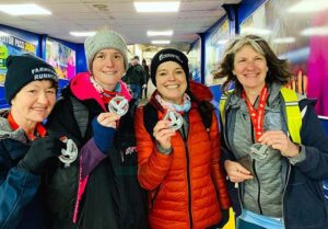 Ladies team with medals at 2020 HRRL Ryde 10