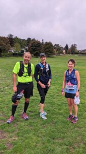 Craig Tate-Grimes, Becky Starbuck and Linda Tyler after completing the Virtual 2020 London Marathon