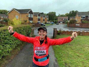 Jane Probett finishing the Virtual 2020 London Marathon