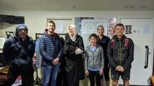 Members in club house after finishing the Virtual 2020 London Marathon
