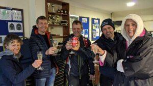Members celebrate after finishing the Virtual 2020 London Marathon