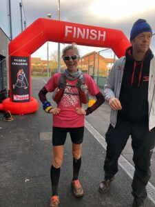 Sarah Hill at the finish of the North Downs Way 66 Pilgrim Challenge