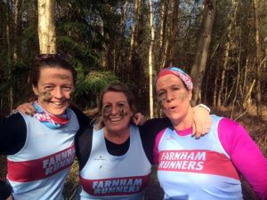 Muddy trio Helen Bracey, Carolyn Wickham and Jacquie Browne at the 2020 SXCL Alice Holt