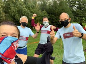 Jane Probett, Robert Drummond, Geoff Brown and Damian Probett in their Covid masks at the 2020 Woodland Woggle