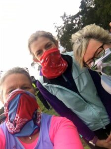 Members in theri Covid masks at the 2020 Woodland Woggle