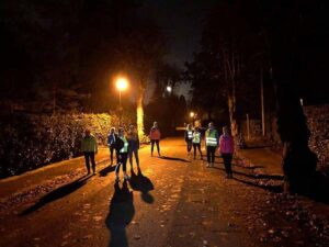 2020 Get Me Started course beginners group doing an evening session in the dark