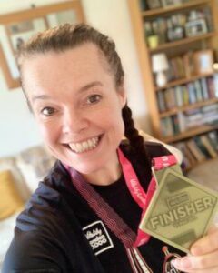 Jane Probett with medal after the 2020 Vitality 10km