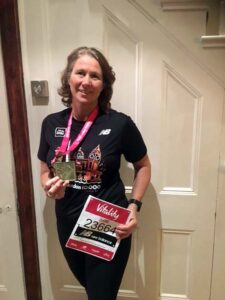 Jacquie Browne with medal after the 2020 Vitality 10km