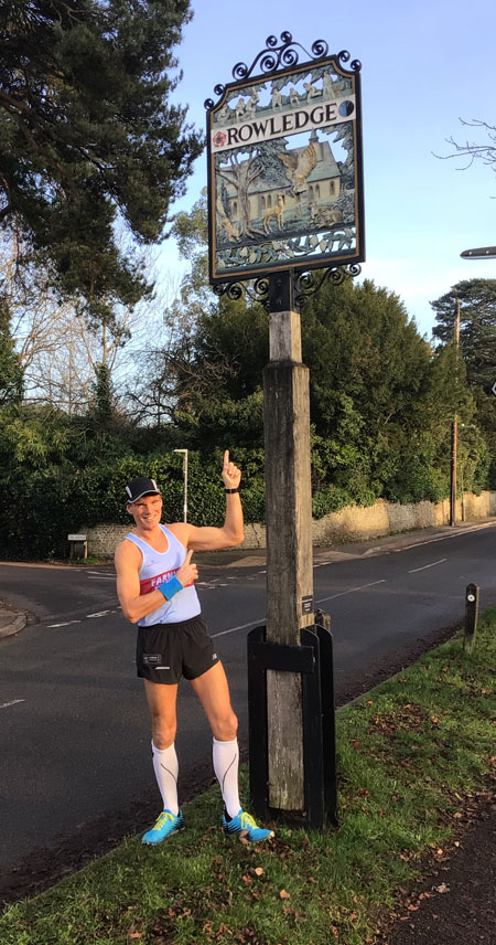 Ali Hardway at start of his Xmas 2020 challenge of a virtual run to Lands End in 28 days