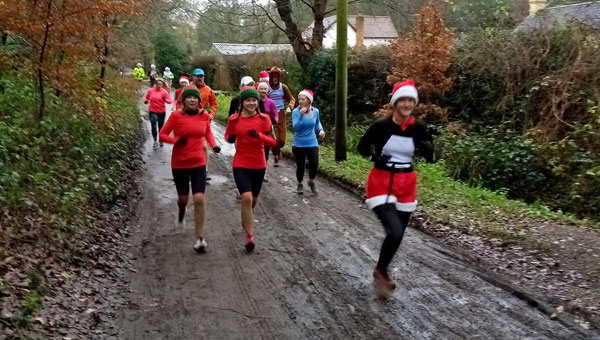 Runners on their way for their 2020 Covid Fancy Dress run