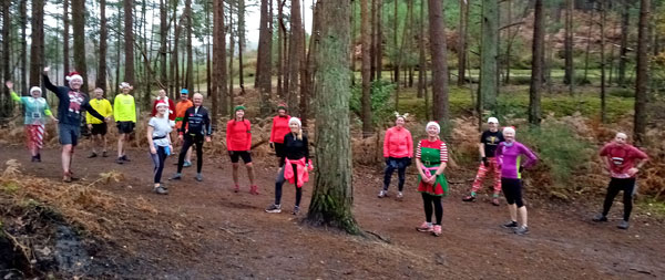 Runners in the woods during the 2020 covid fancy dress run