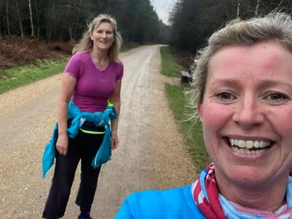 2021 Covid runs - Julia Tagg left and Vicky Goodluck in Alice Holt Forest