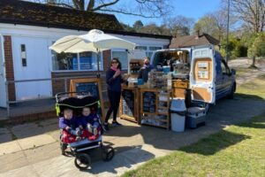 The Coffee Can pop-up coffee shop on the Bourne Green