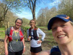 2021 - Chiltern Ridge Trail Run Ultra - Nicola Hames, Marisa Luttrell, Gill Iffland on a training run