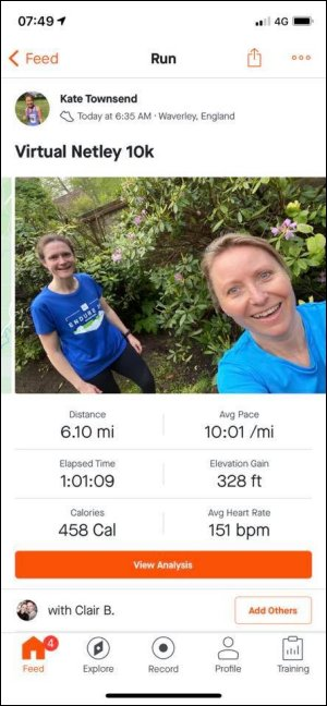 2021 - Not Netley 10k - Clair Bailey and Kate Townsend with latters Strava times