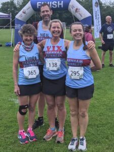 Linda Tyler, Neil Ambrose, Vicky Goodluck and Jane Probett at the 2021 Alresford 10km