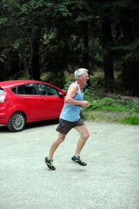 Terry Steadman running who won the M70 shield at the 2021 Club Championship