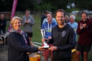 Nik Darlington receives his Overall Men's troph at the 2021 Club Championship