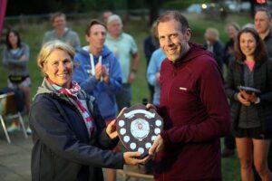 Neil Ambrose receives the Veteran Men's shield at the 2021 Club Championship